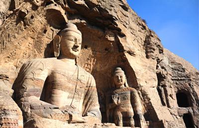 图为全国首批重点文物保护单位 山西大同云冈石窟