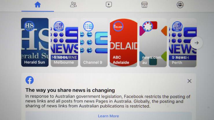 Facebook限制澳大利亚人查看新闻