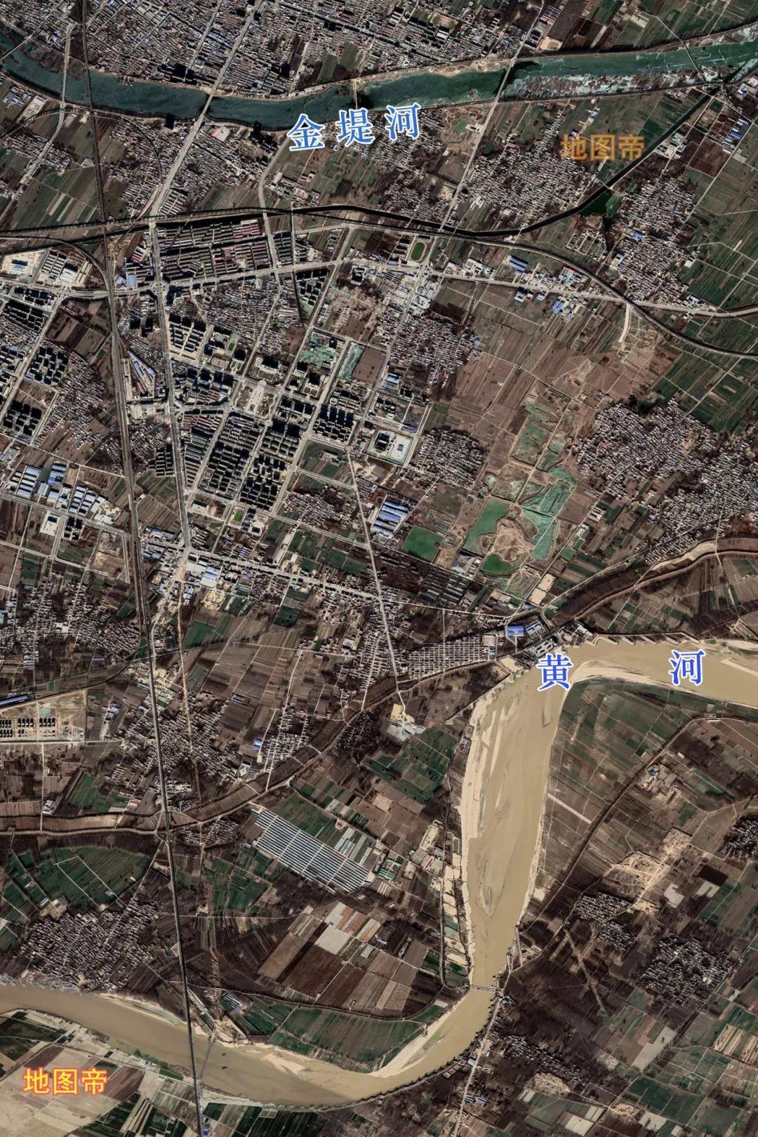 图-俯瞰台前县,夹在黄河与金堤河之间
