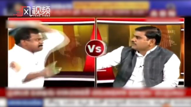 印度政客被扔鞋,电视直播被迫中断