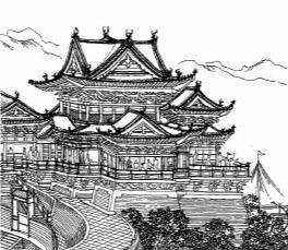 宋朝界画《黄鹤楼》(向欣然根据原画照片绘制)是迄今发现最早的一幅黄鹤楼图像资料。该图较真实地反映出楼址的地理环境,建筑造型气势恢宏,具有较高的学术价值。