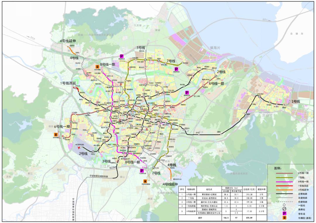 """国家发改委批复文件中的""""宁波市城市轨道交通第三期建设规划(2021-2026 年)示意图"""""""