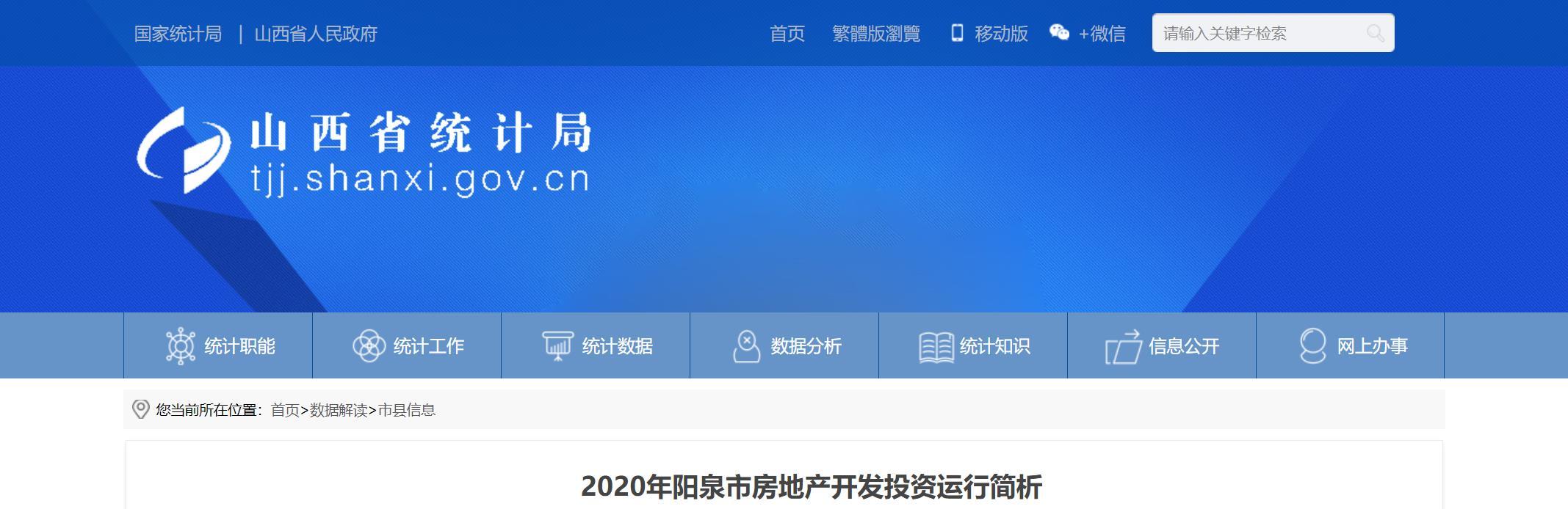 2020年阳泉市房地产开发投资运行简析