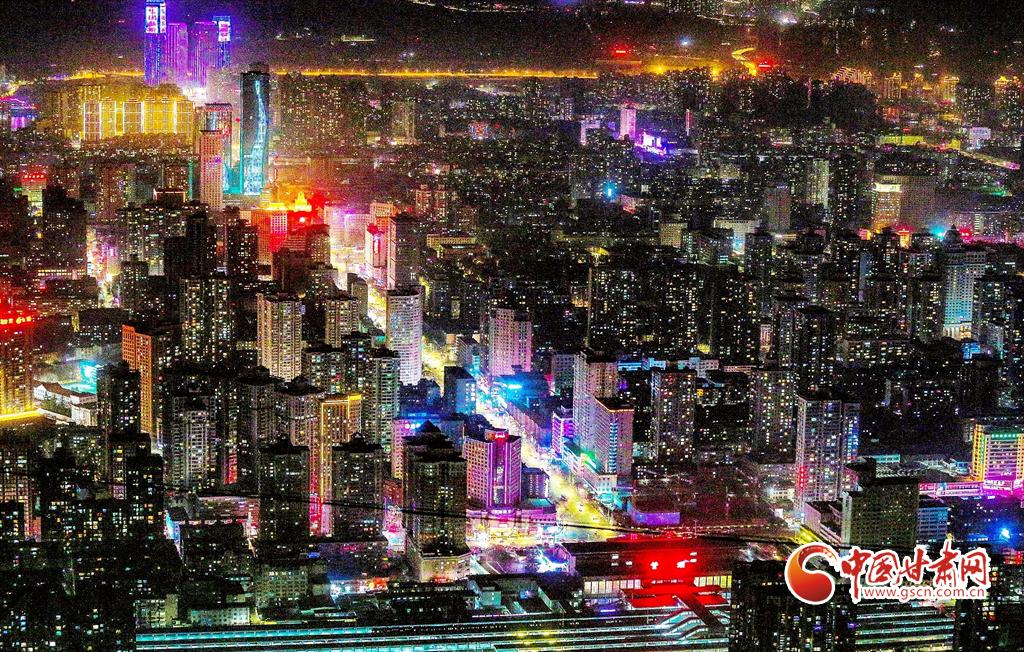 2月20日,远眺金城万家灯火。