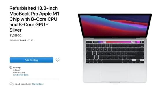 苹果开始销售搭载M1处理器的MacBook Pro 13官翻机:85折 cpu发展史