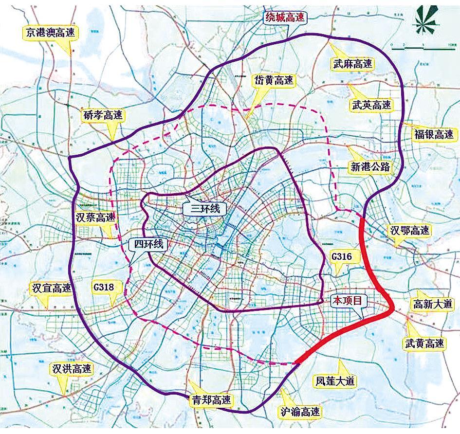 武汉绕城高速公路中洲至北湖段改扩建项目规划图。 (资料图片)