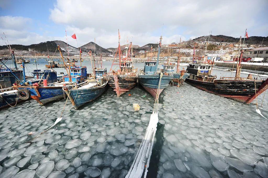 2018年1月26日,芝罘岛西口村渔码头,渔船冻在海冰中
