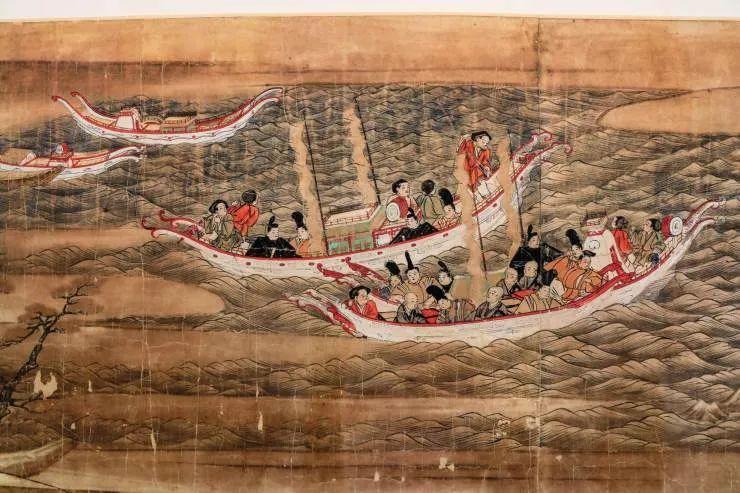 日本画《东征传绘卷》中遣唐使团踏浪图