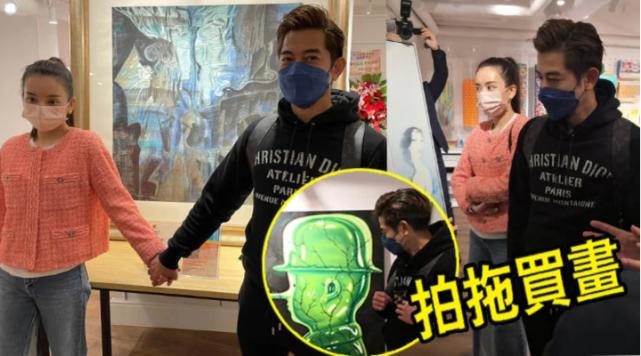56岁郭富城牵手方媛逛画展,豪掷百万买7幅画