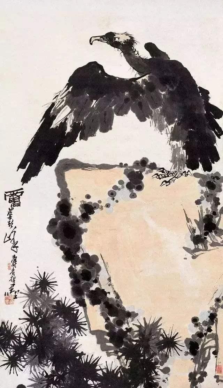 图14,中国画 《鹰石图》 潘天寿