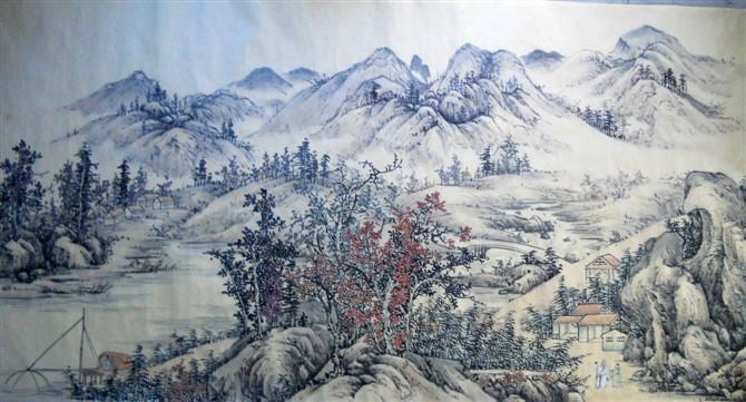《江山雪霁图》 唐 王维(仿)