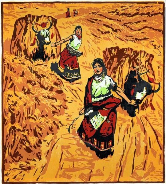 图3,版画 《初踏黄金路》 李焕民 1963年