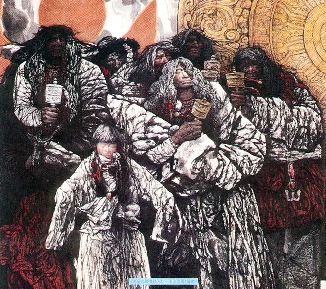 图6,中国画 《走出巴颜喀拉》(局部) 李伯安