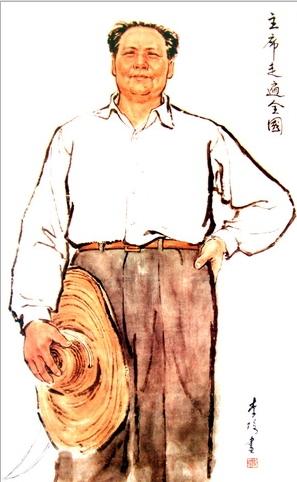 图2,中国画 《主席走遍全国》 李琦 1960年