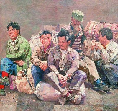 图12,油画 《农民工》 忻东旺