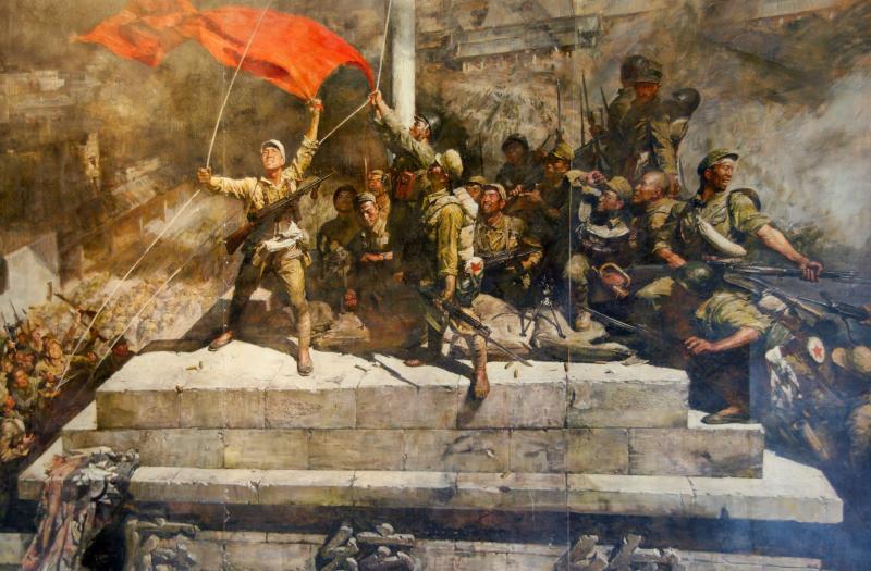 图4,油画 《占领总统府》 陈逸飞 魏景山 1976年