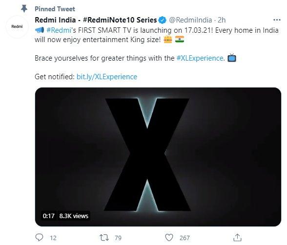 Redmi将于3月17日在印度市场推出旗下首款智能电视
