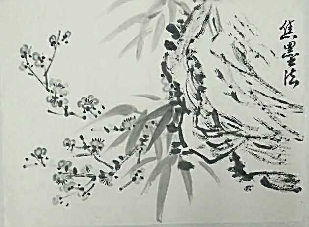 ▲宿墨法——用砚台中过夜不净的墨来作画,宿墨不宜配色彩。