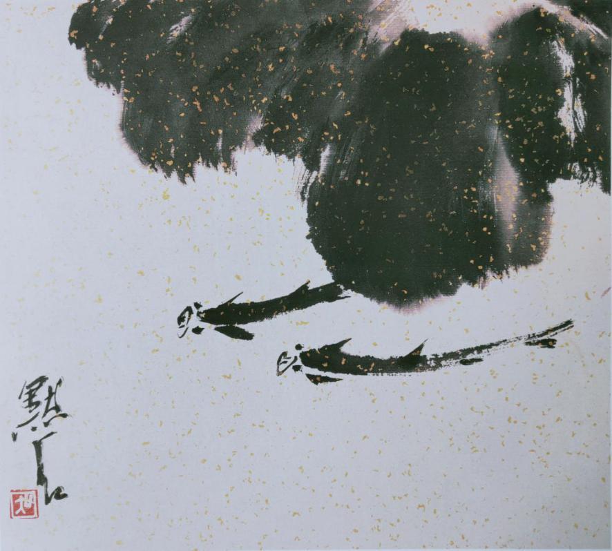 图2,《叶下听雨》26.5厘米×29.5厘米 2008年