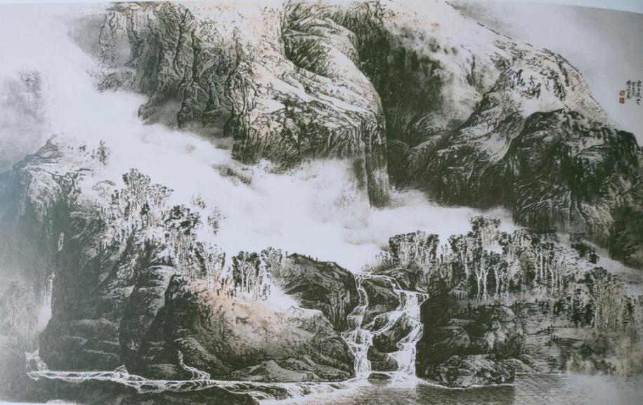 图3,《泉谷流云》88厘米×147厘米2003年