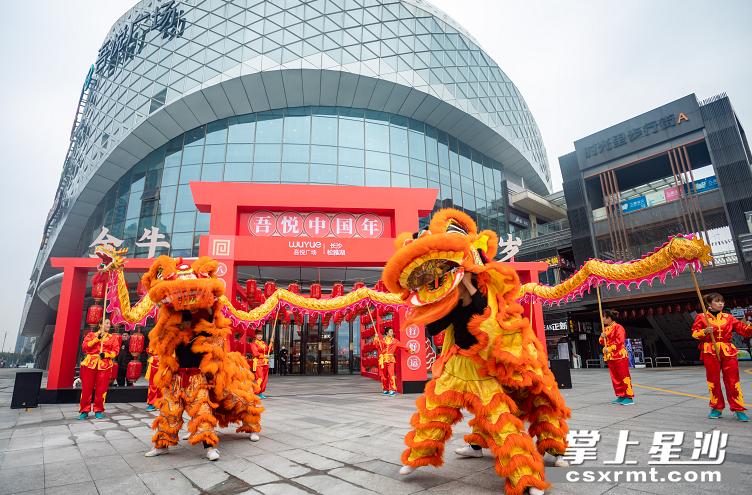 长沙松雅湖吾悦广场热闹喜庆的舞狮表演给广大市民拜年,让市民朋友们充分感受传统的节日氛围。长沙县商务局 供图
