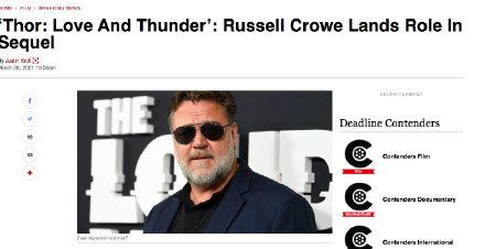 罗素·克劳惊喜加盟《雷神4》,角色未知
