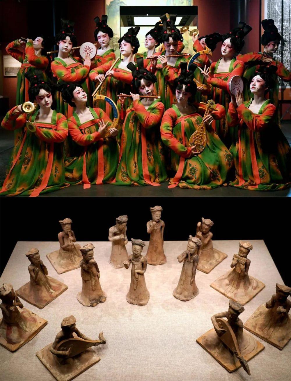 上图为郑州歌舞剧院的演员在录制河南博物院元宵奇妙夜节目;下图为河南博物院主展馆内展出的展品。新华社记者 李安 摄