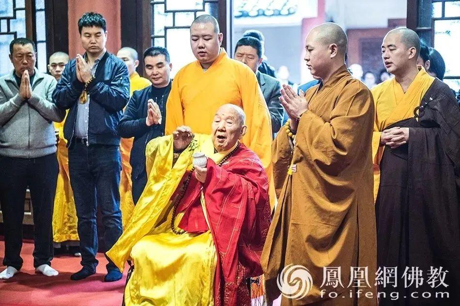 2019年2月24日,新成长老迎来101岁寿诞,诸多弟子从全国各地赶来为长老祝寿。(图片来源:凤凰网佛教 摄影:妙城)