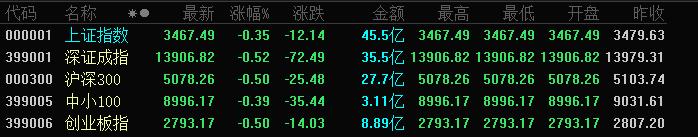 A股三大指数全线低开:沪指跌0.35%,创业板指跌0.50%