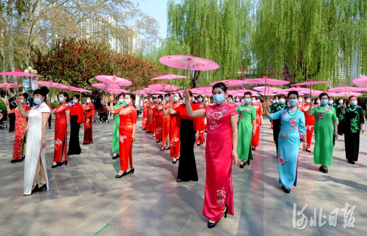 2021年4月7日,在河北省石家庄市平安公园内,平安公园雪绒花模特队在进行伞舞《太湖美》表演。河北日报记者杜柏桦摄影报道