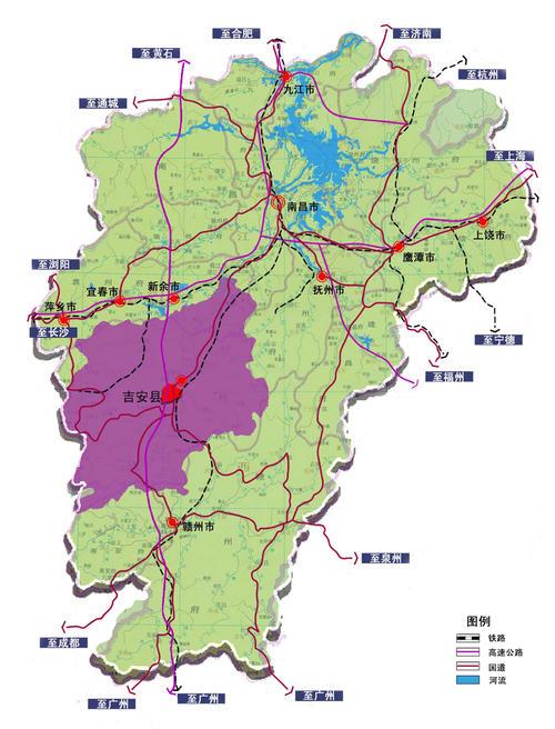 吉安市在江西省的位置。来源/网络