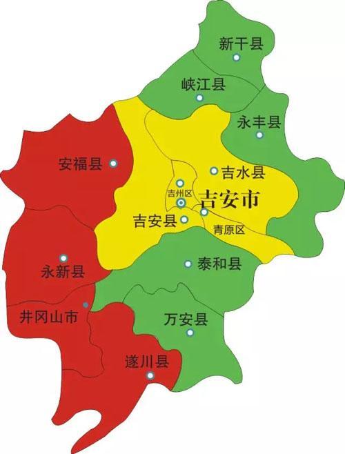 吉安市地图。来源/网络