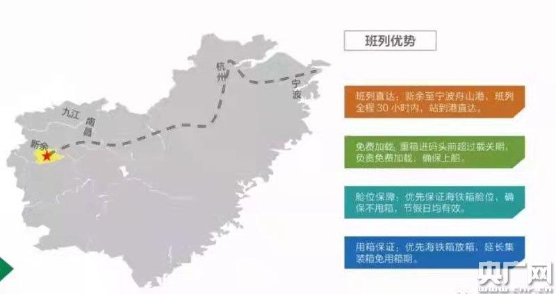 新余至宁波港铁海联运线路(央广网发 通讯员提供)