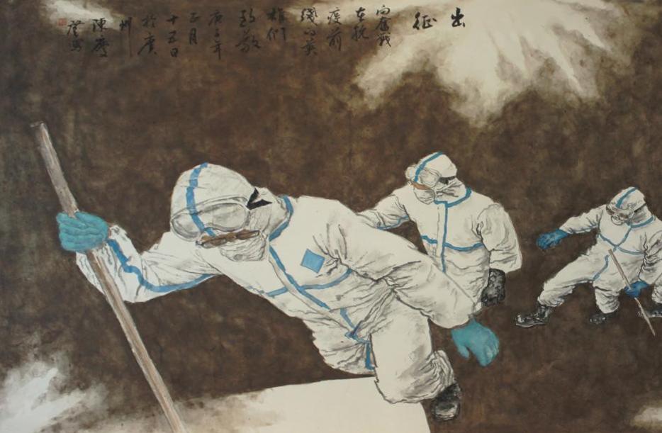 《出征》 作者:陈庆登 国画纸本设色 尺寸:175×94cm 年份:2020