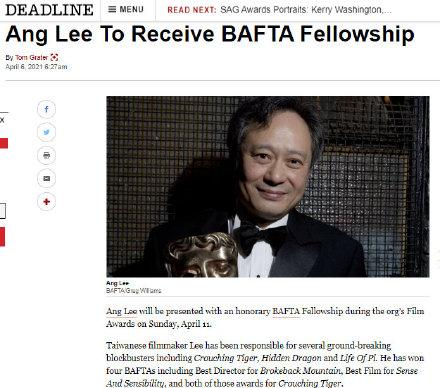 恭喜!李安获得第74届英国电影学院奖终身成就奖