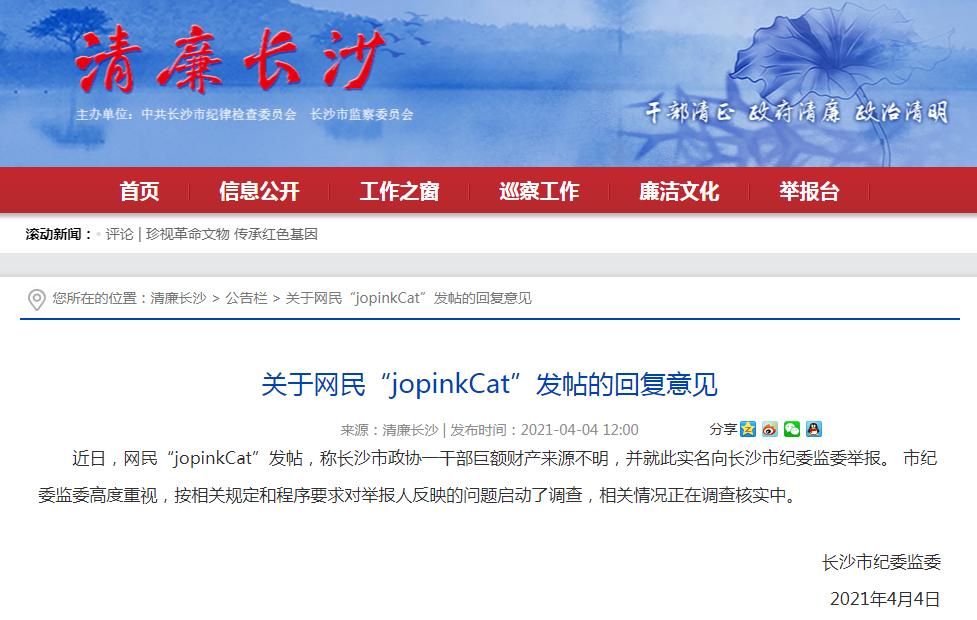 长沙市纪委监委网站回复意见截图