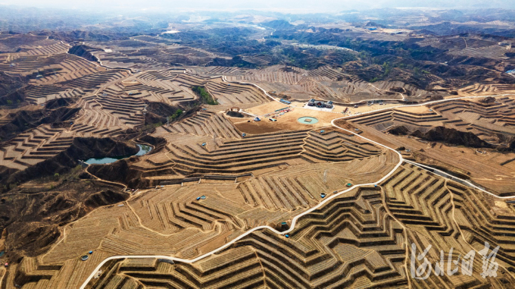 2021年4月6日拍摄的阜平县大道农业示范园区。经过综合治理,大道村周边的荒山变成了带动群众增收的金山银山。 河北日报记者赵海江摄