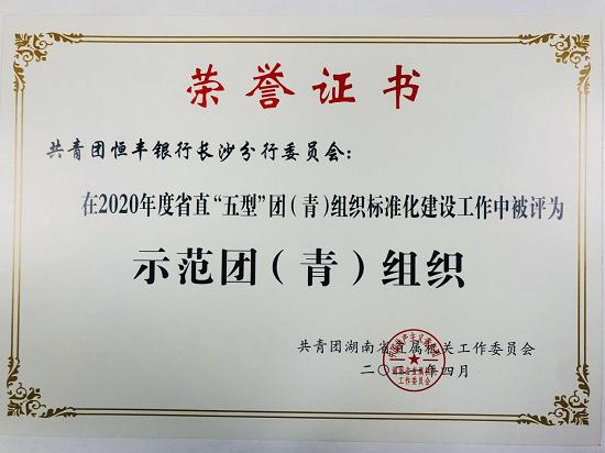 """恒丰银行长沙分行团委荣获湖南省直""""青年文明号""""等多项省级荣誉"""
