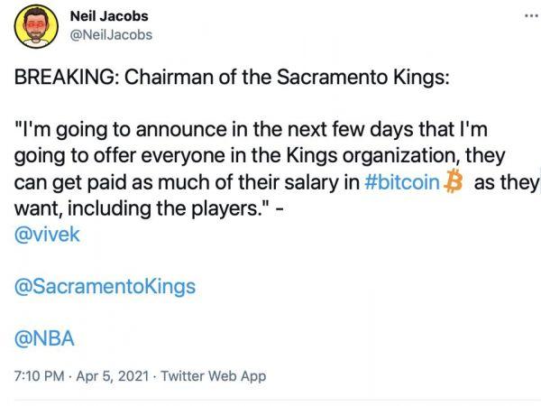 拉纳戴夫在其社交网络账号上宣布将比特币作为国王队支付薪资方式的信息的截图
