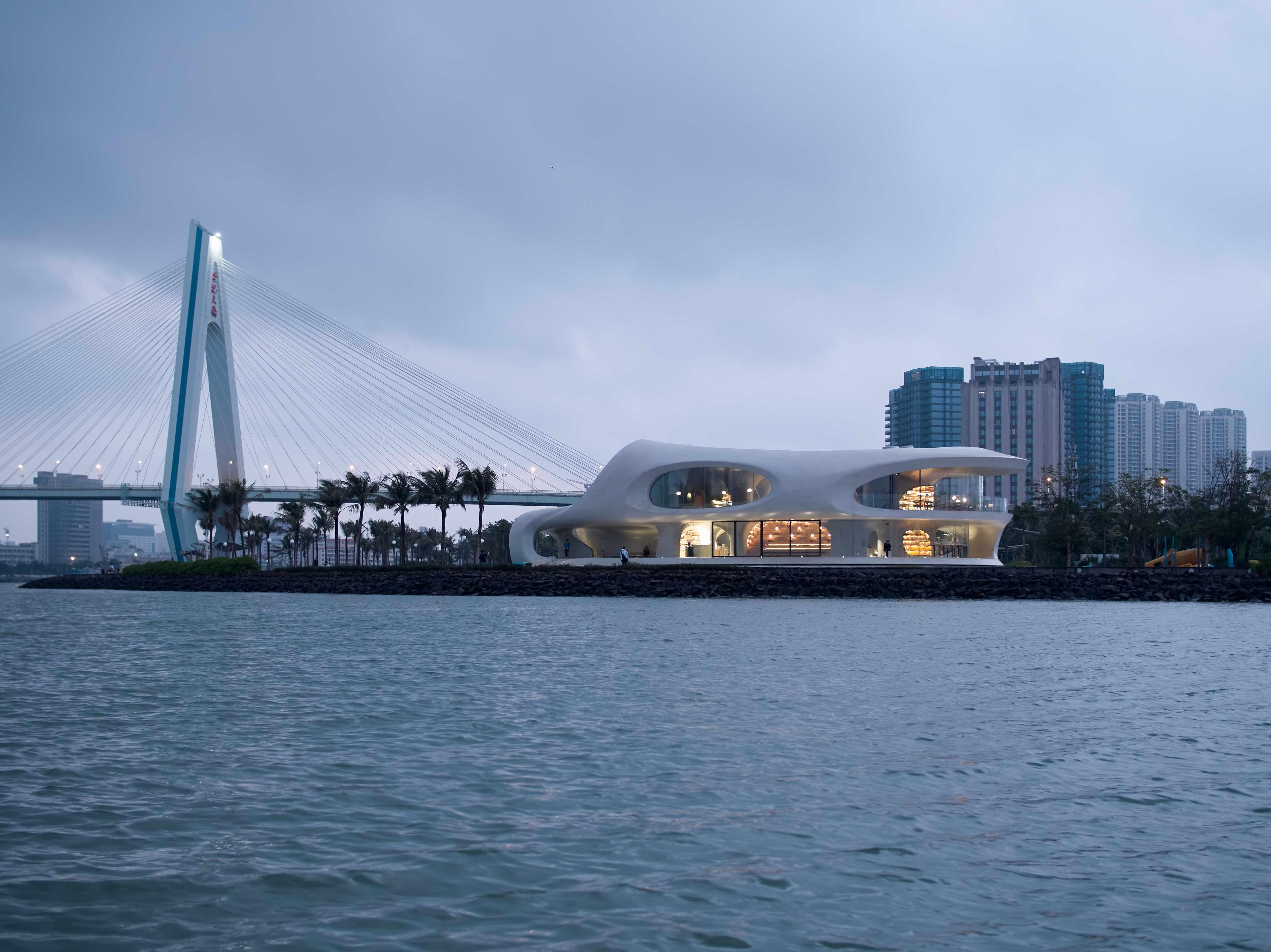 海口云洞图书馆和海口世纪大桥  奥观建筑视觉