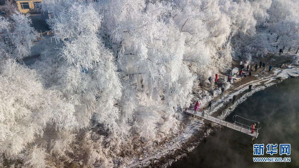 吉林省吉林市丰满区吉丰东路松花江畔的雾凇美景。新华社记者 张楠 摄