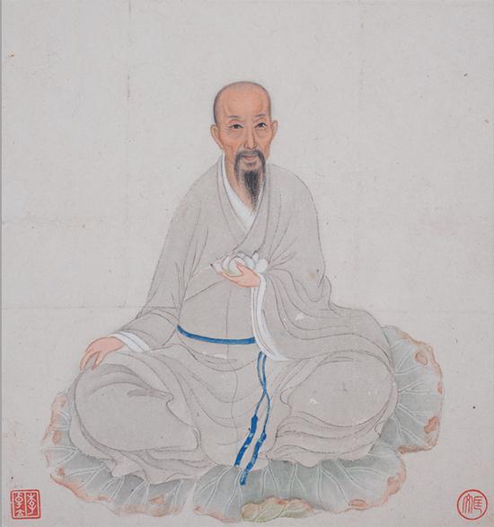 释大汕绘长寿寺僧像册(局部),广州艺术博物院藏