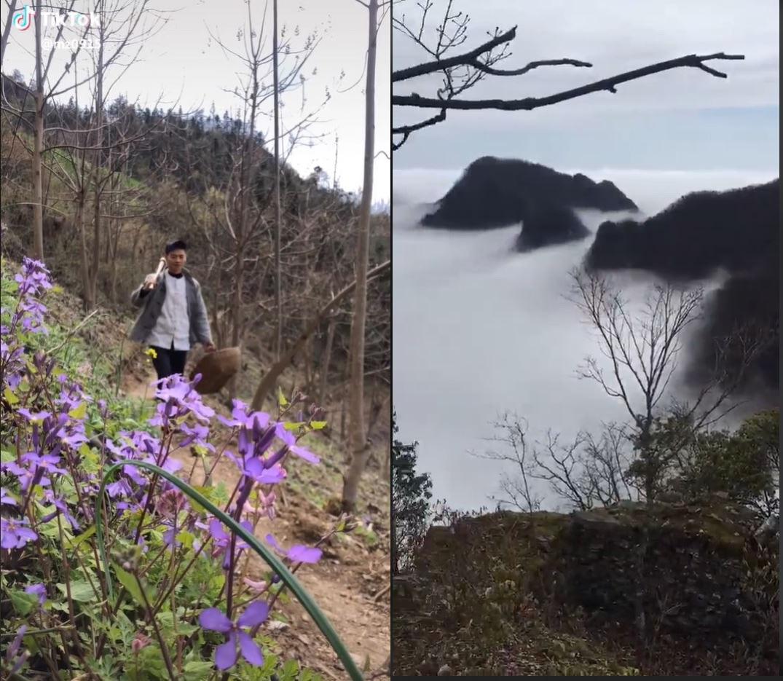 TikTok中国乡野美食视频中展示的自然美景