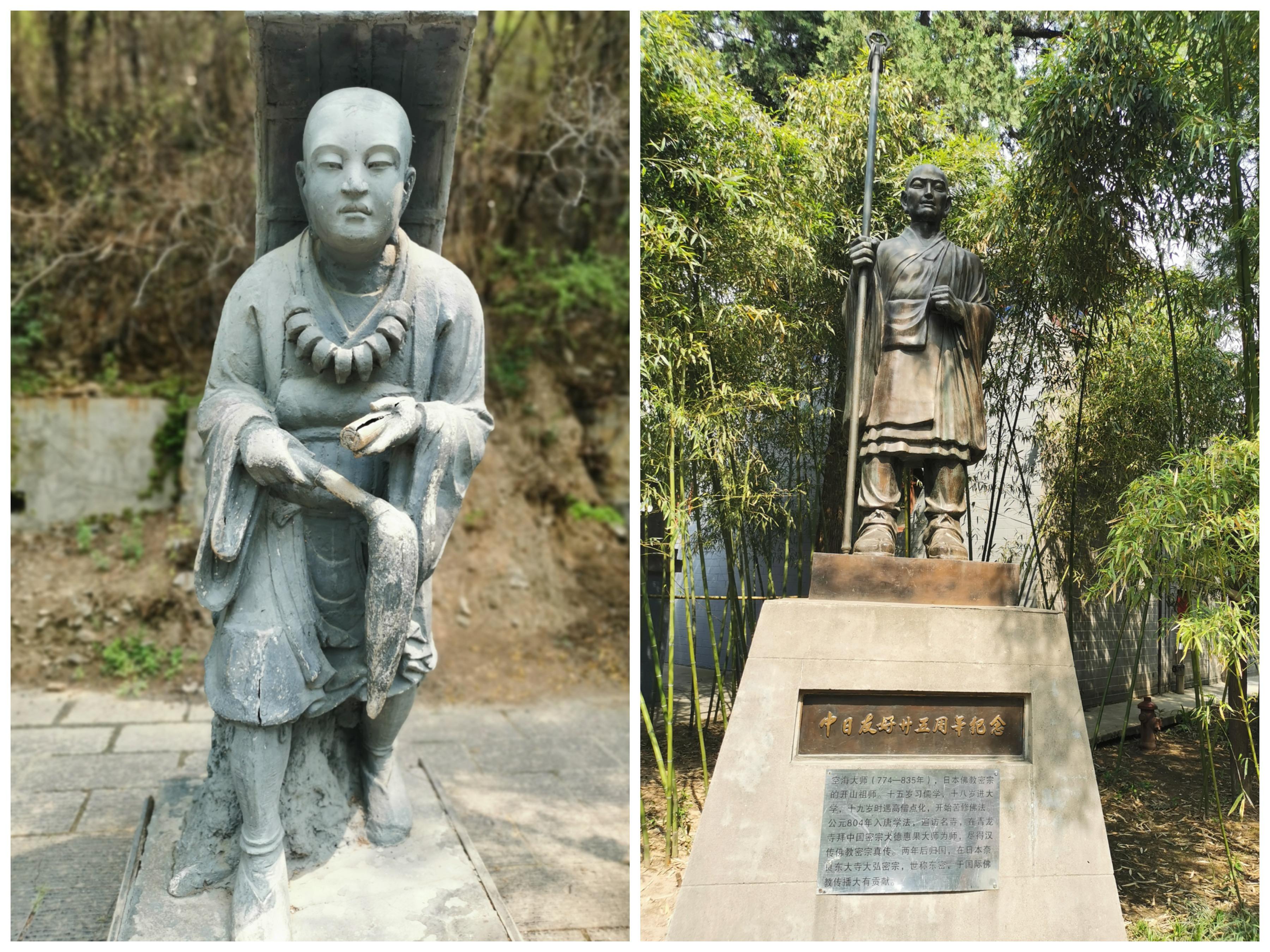 历史上,洛阳的中外文化交流频繁,佛教尤是。龙门石窟里的玄奘雕像(左)和白马寺中的日僧空海雕像(右)