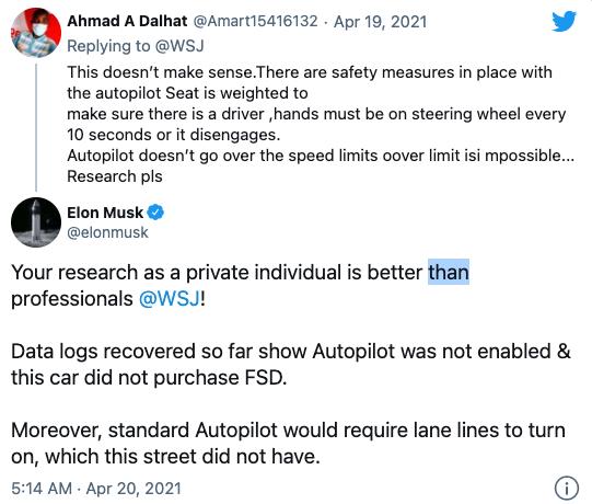 马斯克称Autopilot当时并未开启