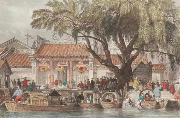 19世纪海幢寺门前码头画,广州市海幢寺藏