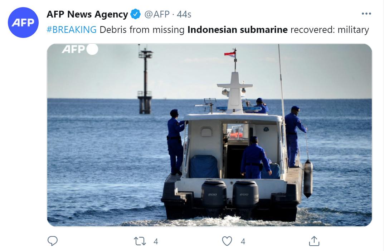"""印尼军方宣布失踪潜艇已""""沉没"""",艇上载有 53 人"""
