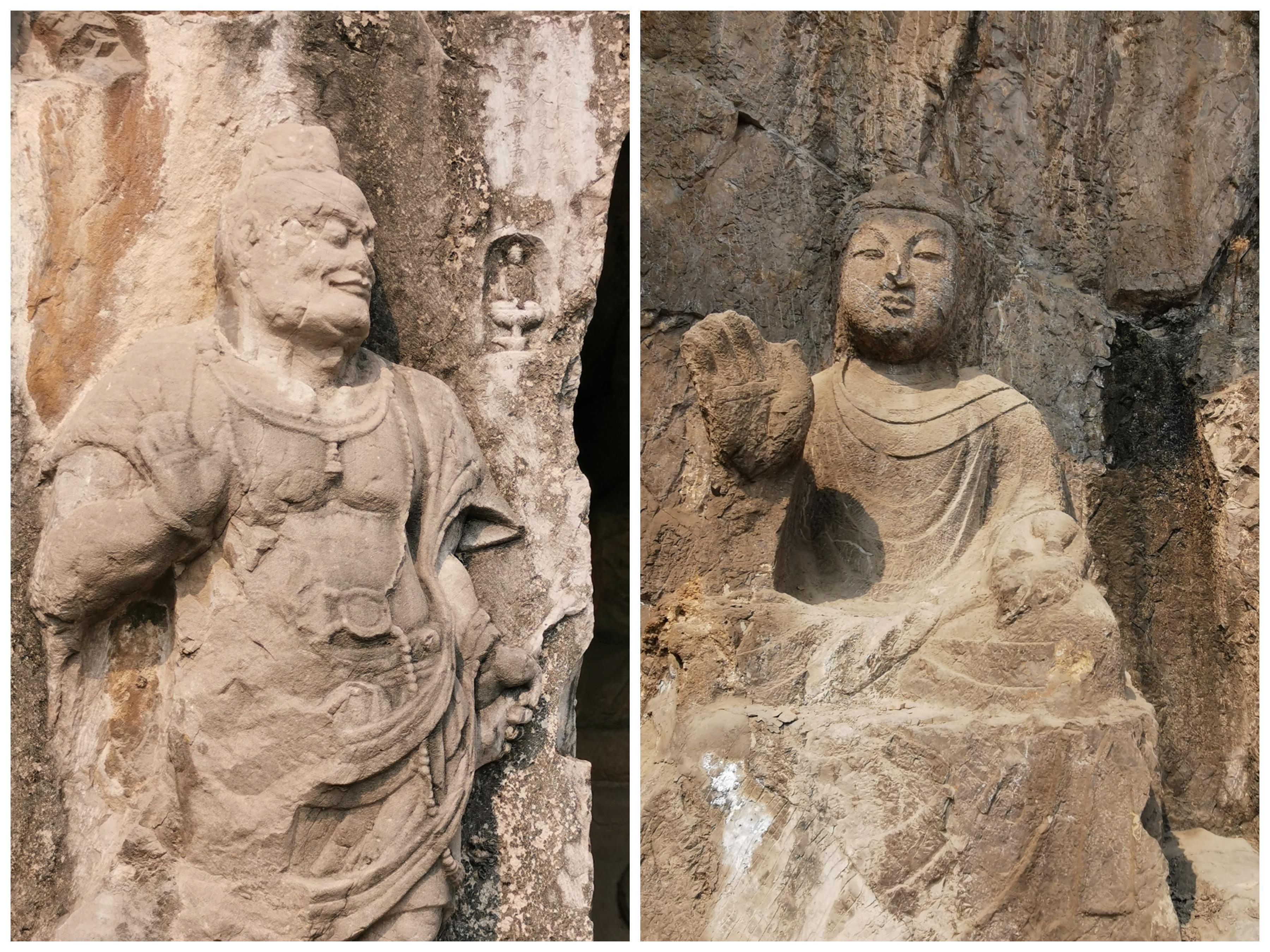 龙门石窟里的佛像(右)和力士像(左)