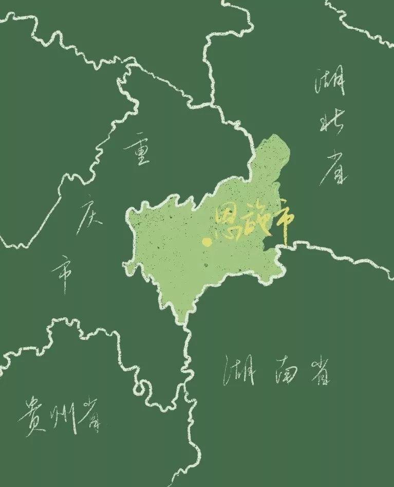 """△恩施的地理位置。图by 公众号""""中国国家地理BOOK"""""""