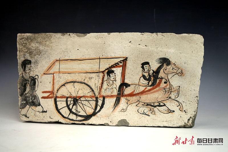 彩绘车马出行图壁画砖